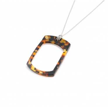 Pendentif Loupe rectangle écaille