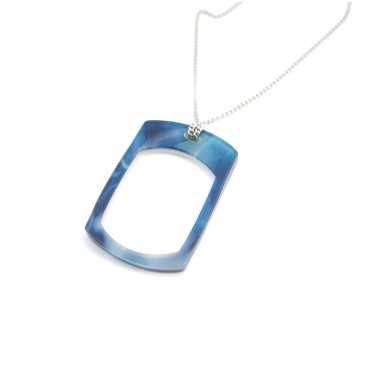 Blue Loupe rectangle pendant