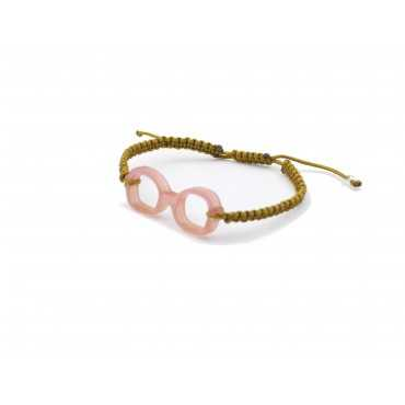 Pink square glasses brown bracelet